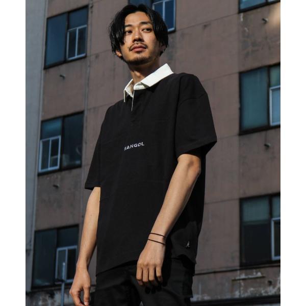ラガーシャツ メンズ シャツ カジュアルシャツ 半袖 ポロシャツ スポーツ スポーティ ロゴ 刺繍 ビッグシルエット KANGOL ファッション (kgsa-zi1912) D|zip|16
