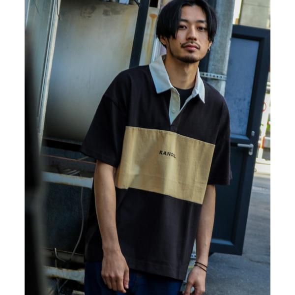 ラガーシャツ メンズ シャツ カジュアルシャツ 半袖 ポロシャツ スポーツ スポーティ ロゴ 刺繍 ビッグシルエット KANGOL ファッション (kgsa-zi1912) D|zip|18