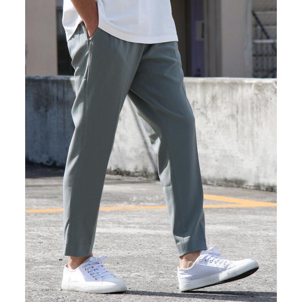 イージーパンツ メンズ アンクルパンツ スラックス 半端丈 ロングパンツ ストレッチ 無地 チェック ファッション (zp081829) D|zip|20