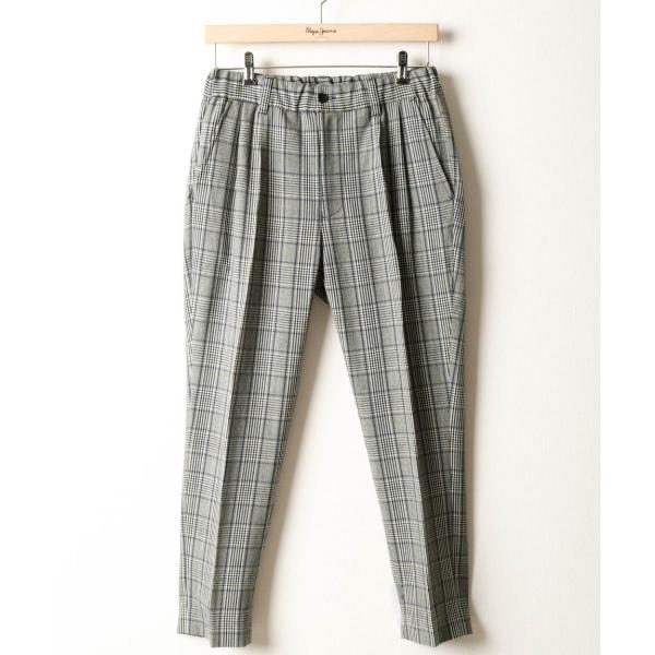 イージーパンツ メンズ アンクルパンツ スラックス 半端丈 ロングパンツ ストレッチ 無地 チェック ファッション (zp081829) D|zip|21