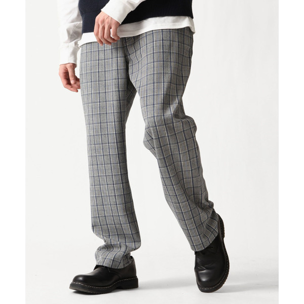 テーパードパンツ メンズ ワイドパンツ スラックス スーツ生地 ストレッチ 無地 チェック イージーパンツ ファッション (zp081830) D|zip|24