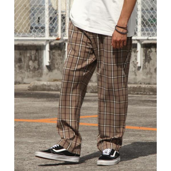 テーパードパンツ メンズ ワイドパンツ スラックス スーツ生地 ストレッチ 無地 チェック イージーパンツ ファッション (zp081830) D|zip|25