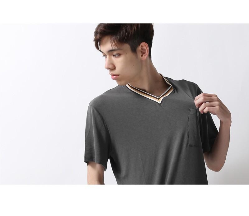 素色短袖V領T恤(4色) ZIP日本男裝