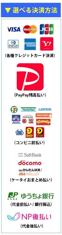 運転免許問題集「ズバリ!問題集」は、PayPay残高払い、各種クレジットカード決済、ケータイおまとめ払い、コンビニ決済、後払いなど、様々な決済方法をご利用いただけます。